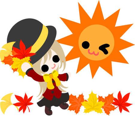 The cute illustration of autumn and girl-fine autumn weather- Illustration