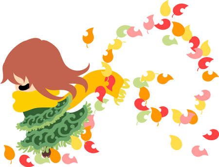 fall fashion: The cute illustration of autumn and girl-Autumn wind- Illustration