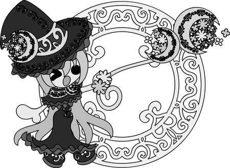 スタイリッシュでかわいい魔女の女の子のイラスト  イラスト・ベクター素材