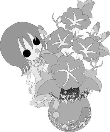 The illustration of morning glory and a girl Illustration