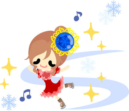 The cute illustration of autumn and winter-Ice skating-