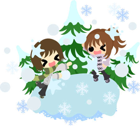 The cute illustration of autumn and winter-Pleasant snowball fight-