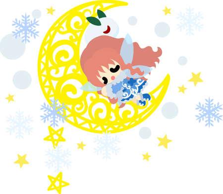 The cute illustration of autumn and winter-Sleeping snow fairy-