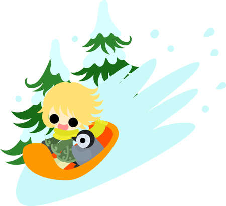 The cute illustration of autumn and winter-Pleasant sled play- Illustration