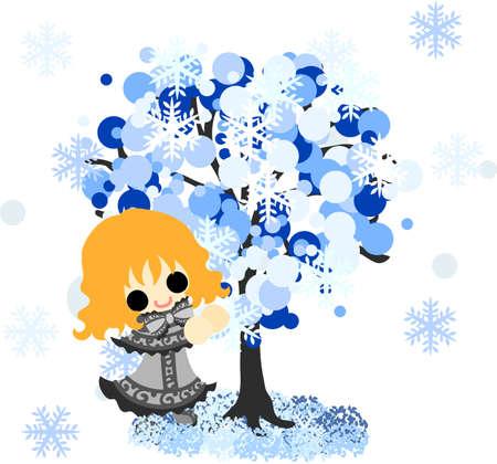 winter girl: The cute illustration of winter and girls-winter tree- Illustration