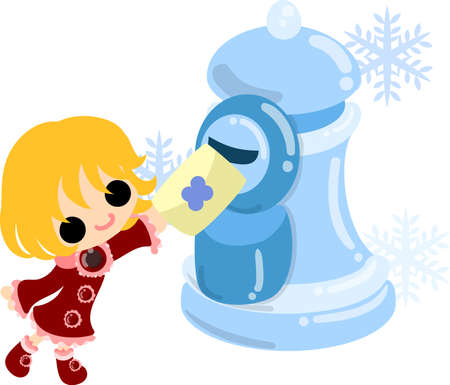 The cute illustration of winter and girls-ice post- Illustration
