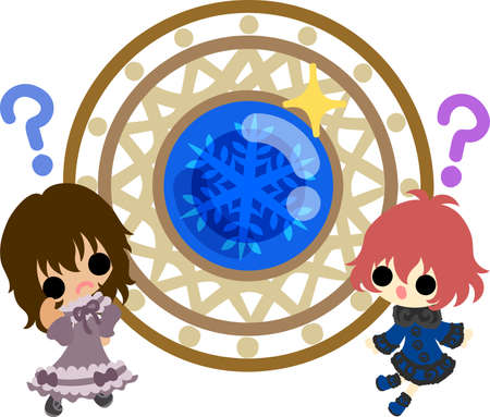 The cute illustration of winter and girls-a mysterious crystal-
