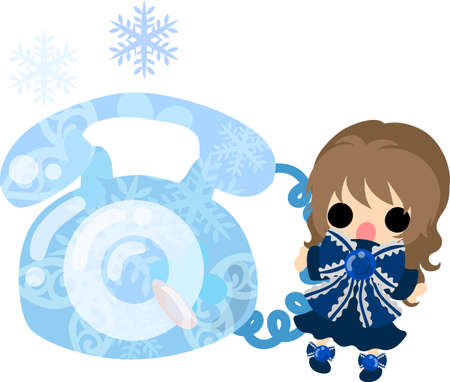 cold cuts: The cute illustration of winter and girls-ice telephone- Illustration