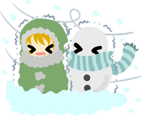fiambres: The cute illustration of winter and girls-Blizzard-