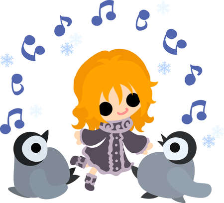 baby seal: The cute illustration of winter and girls-With pretty penguin babies-