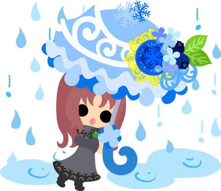 The cute illustration of winter and girls-Winter rain- Illustration