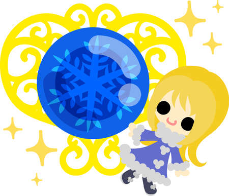 The cute illustration of winter and girls-a mysterious jewel- Illustration