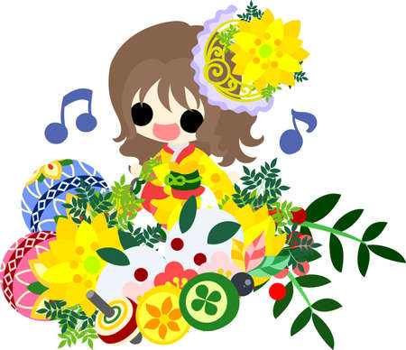 The cute illustration of stylish girls in Kimono (Japanese style cloth). And it is usable to New Year holidays use including the New Years card.