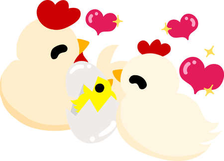My original illustration of cute domestic fowls and chick