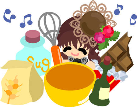 A cute little girl who cooks chocolate sweets
