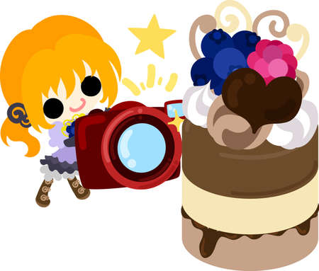 A cute little girl and the camera and chocolate  pudding Illustration