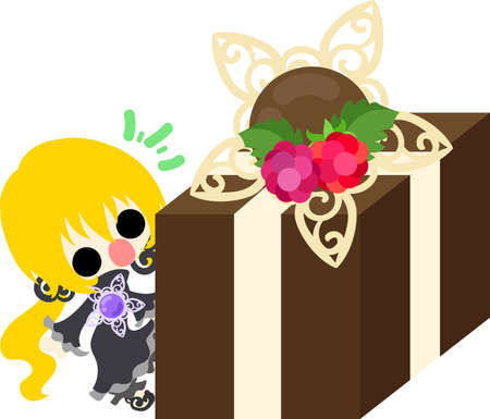 A cute little girl and the chocolate present box
