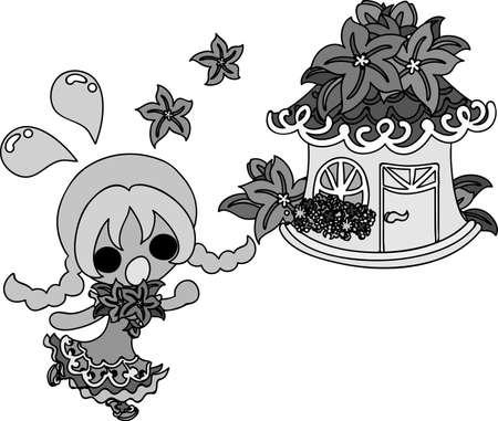 illustration of stylish girls and ornaments