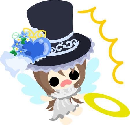 silk hat: A pretty angel and stylish silk hat Illustration