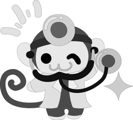 The pretty little monkey which does the figure of the doctor