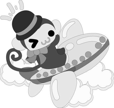 personification: The pretty little monkey which does the figure of the cabin attendant Illustration