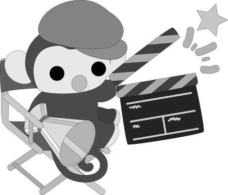 movie director: The pretty little monkey which does the figure of the movie director Illustration
