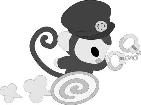 The pretty little monkey which does the figure of the  police officer Illustration