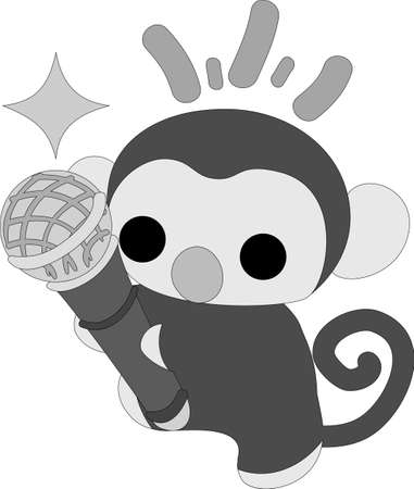 personification: The pretty little monkey having a microphone Illustration