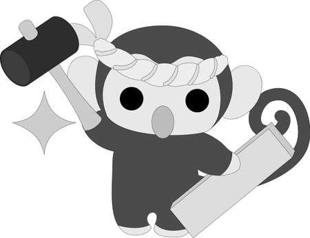 大工さんの姿はかなり小猿