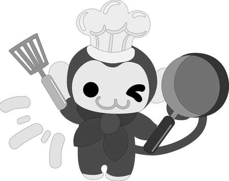 The pretty little monkey which does the figure of the chef