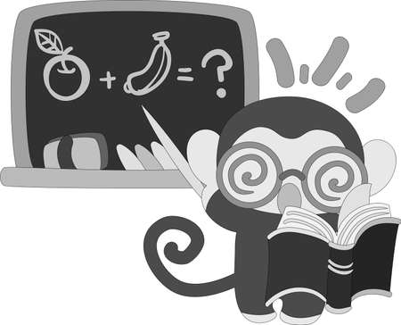 personification: The pretty little monkey which does the figure of the teacher Illustration