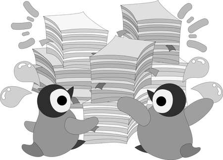 The pretty penguin babies and lots of document