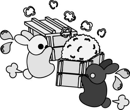 Cute little rabbits are making preparations for rice cakes Illustration
