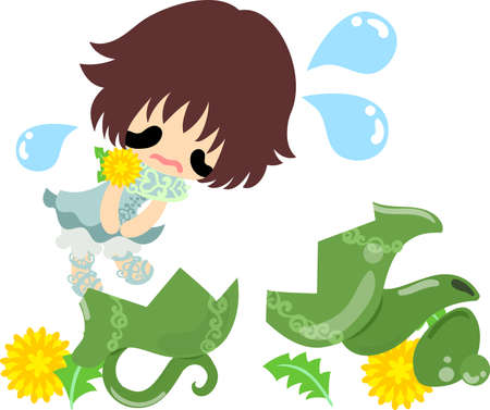 Illustration of a cute girl who apologizes and a broken pot Illustration