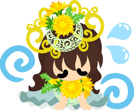 Illustration of a cute girl and a tiara of dandelion