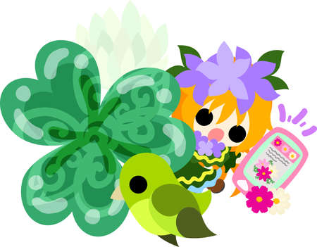 Illustration of clover jewel and cute little girl