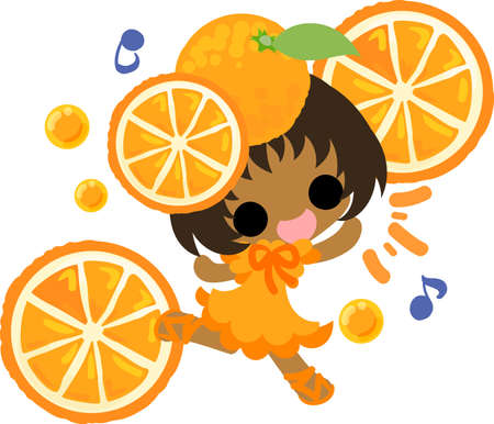 The illustration of the girl in the orange dress