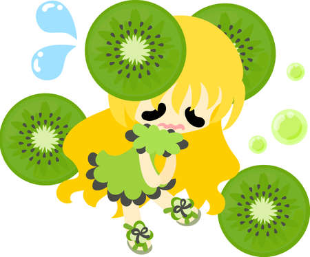 kiwi fruit: The illustration of the girl in the kiwi fruit dress