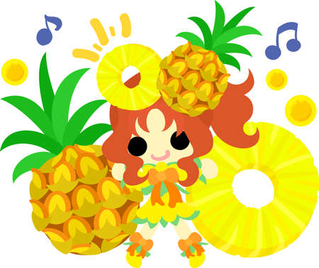 The illustration of the girl in the pineapple dress