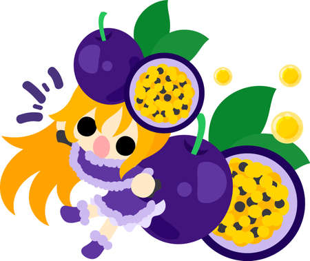 passion fruit: The illustration of the girl in the passion fruit dress Illustration