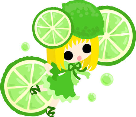 The illustration of the girl in the lime dress