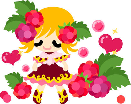 The illustration of the girl in the raspberry dress Illustration