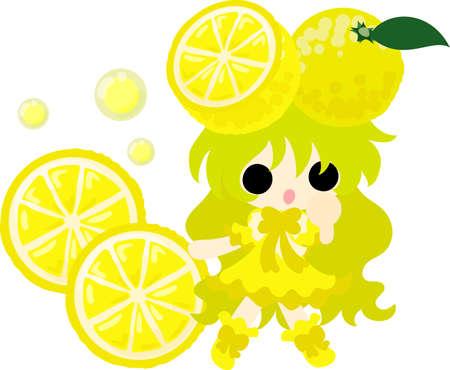 Illustration of the girl wearing a fruit design. Illustration