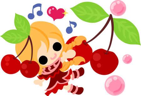 桜の衣装の女の子のイラスト。