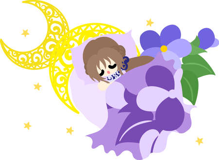 Illustration of a cute sleeping girl and a bed of violet