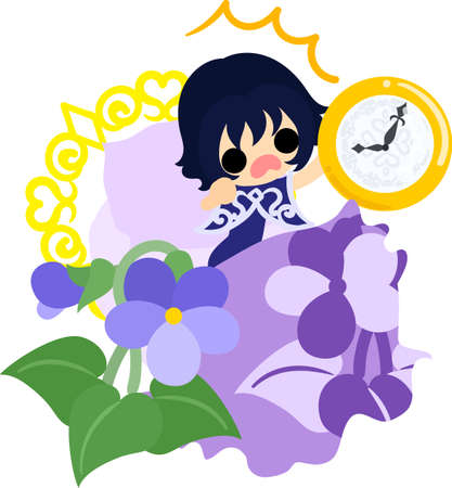 Illustration of a cute girl who overslept and a bed of violet Illustration