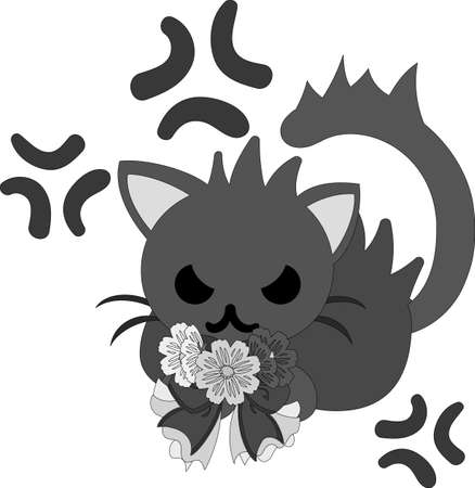 The pretty little cat in anger and a cute flower ribbon