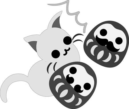 The pretty little cat and tumbler dolls Illustration
