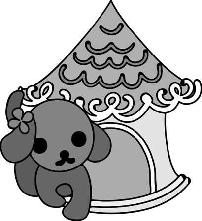 doghouse: The cute dog and a wonderful doghouse