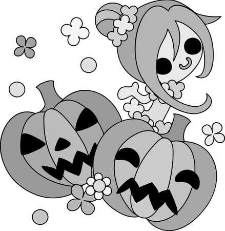 Halloween and jack-o-lanterns and a pretty ballerina